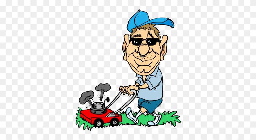 Men Clipart Mowing Lawn - Mower Clipart