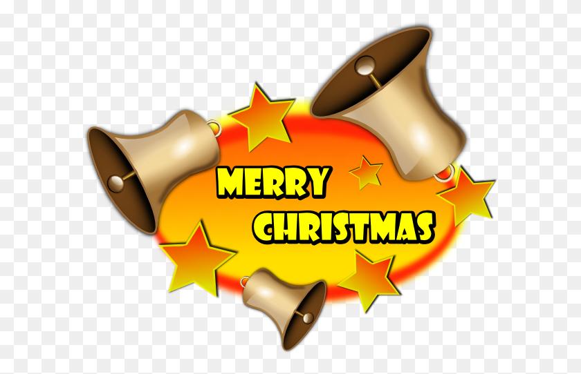 600x482 Merry Christmas Bell Banner Clip Art - Merry Christmas PNG