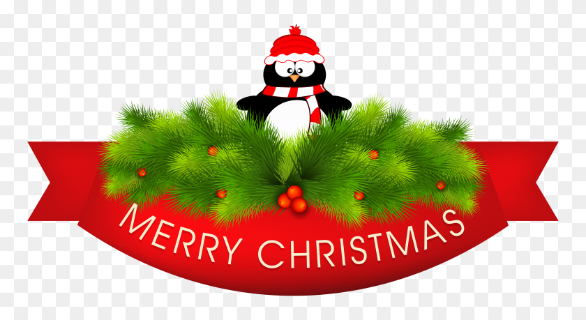Merry Christmas Decor With Penguin Png Clipart Gallery - Merry Christmas Clip Art