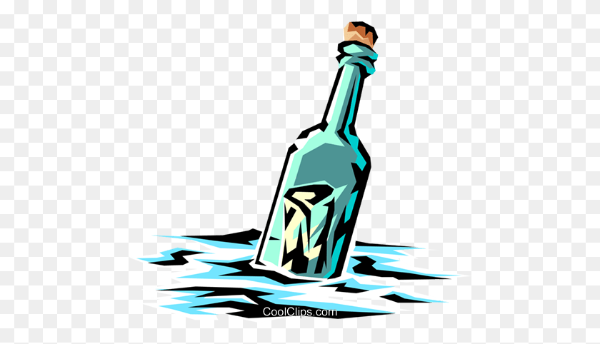 Message In A Bottle Royalty Free Vector Clip Art Illustration - Clipart Beer Bottle