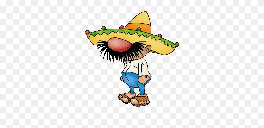 310x348 Mexican Man Cartoon Group With Items - Maracas Clipart