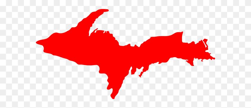 Michigan Upper Peninsula Red Clip Art - Peninsula Clipart