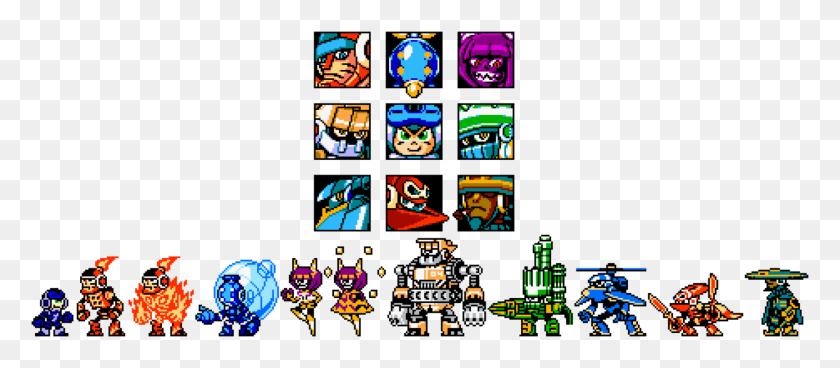 1419x562 Mighty No Retro Sprites - Megaman Sprite PNG