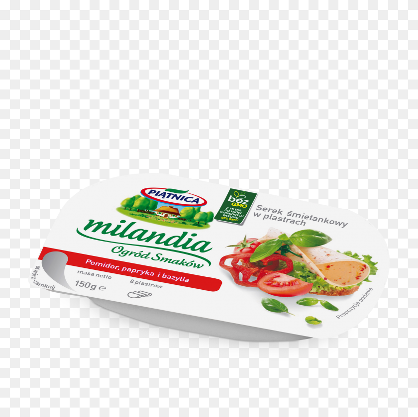 Milandia Cottage Cheese In Slices With Pepper, Tomato And Basil - Tomato Slice PNG