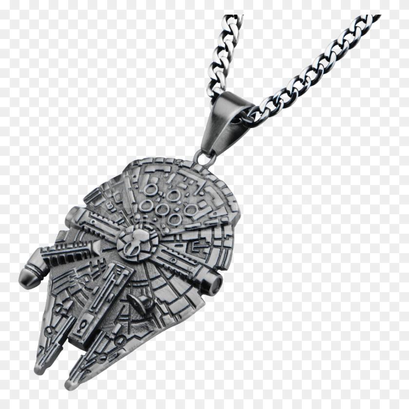 Millennium Falcon Pendant With Chain - Millenium Falcon PNG