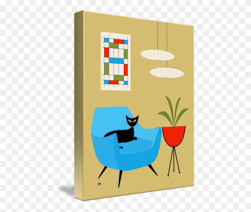 470x650 Mini Abstract Turquoise Chair - Mid Century Modern Clip Art