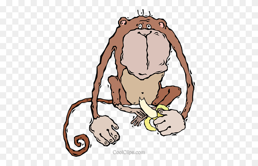 Monkey, Eating A Banana Royalty Free Vector Clip Art Illustration - Monkey Banana Clipart