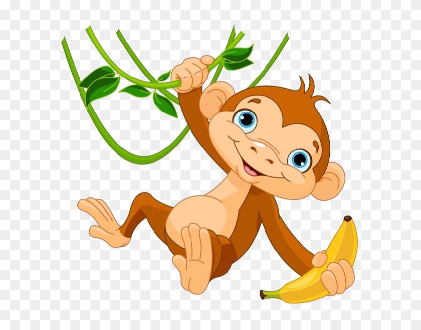 Monkey With Banana Clipart Outline - Banana Bread Clipart