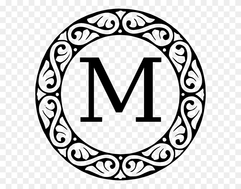 594x598 Monogram Letter M Clip Art - M PNG