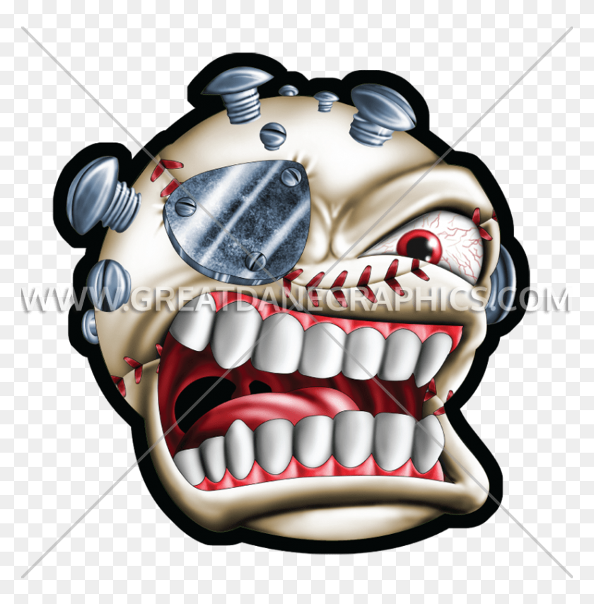 825x840 Monster Baseball Production Ready Artwork For T Shirt Printing - Monster Mouth PNG