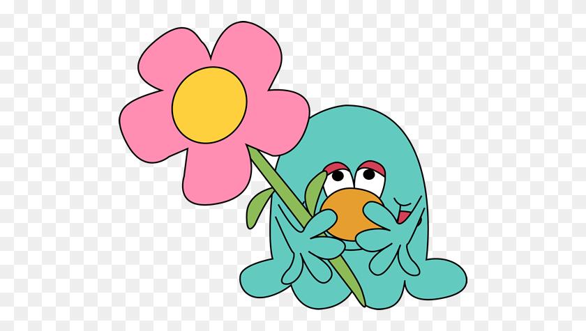 Monster With A Flower Clip Art - Cute Flower Clipart