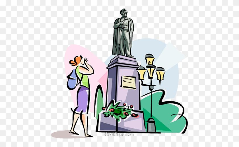 480x459 Monument To Aleksandr Pushkin Royalty Free Vector Clip Art - Monument Clipart