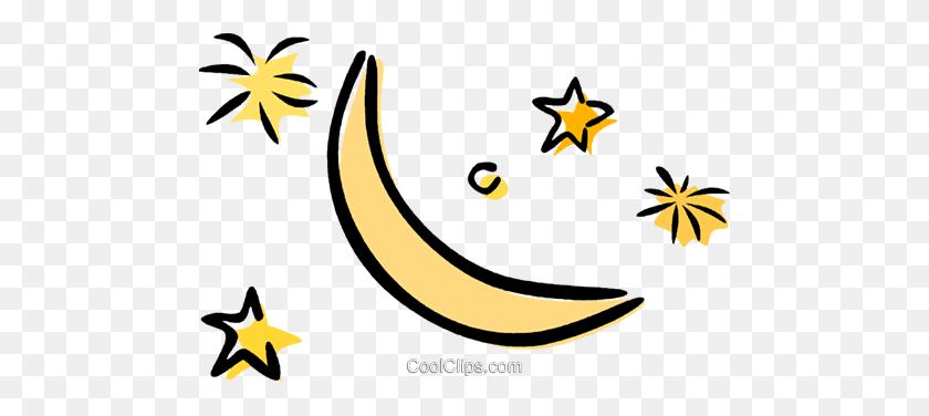 Moon And Stars Royalty Free Vector Clip Art Illustration - Moon Stars Clipart