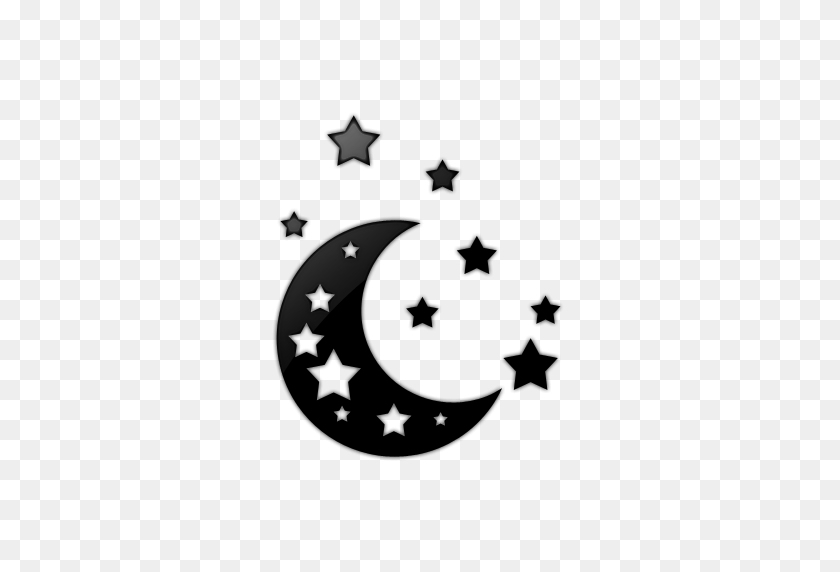 Moon Black And White Black Stars And Moon Clipart - Black Stars PNG