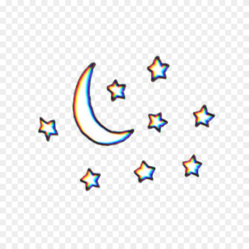 Moon Stars Star Tumblr Glitch Glitchy - Moon Stars Clipart