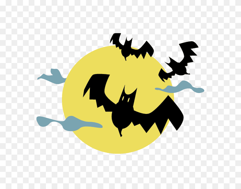 Moon With Bats Halloween Cartoon Clip Art - Halloween Bats Clipart