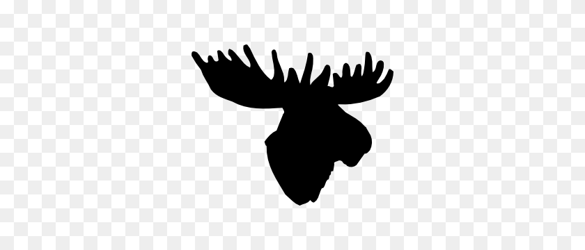 300x300 Moose Head Sticker - Moose Silhouette PNG