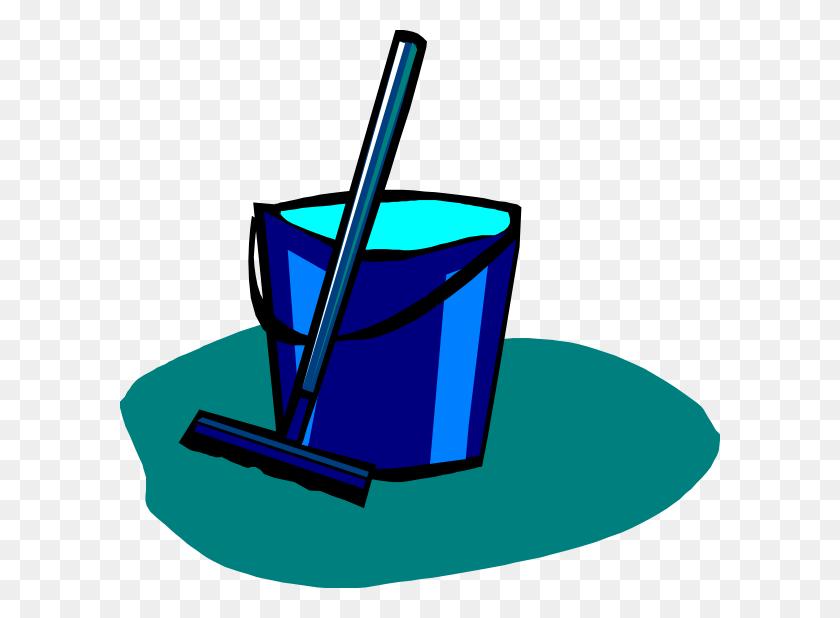 Mop And Bucket Blue Clip Art - Mop And Bucket Clipart