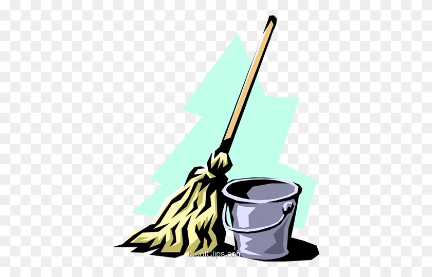 402x480 Mop Pail Royalty Free Vector Clip Art Illustration - Mop Bucket Clipart