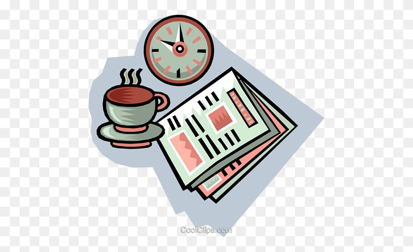 Morning Coffee Break Royalty Free Vector Clip Art Illustration - Morning Clipart