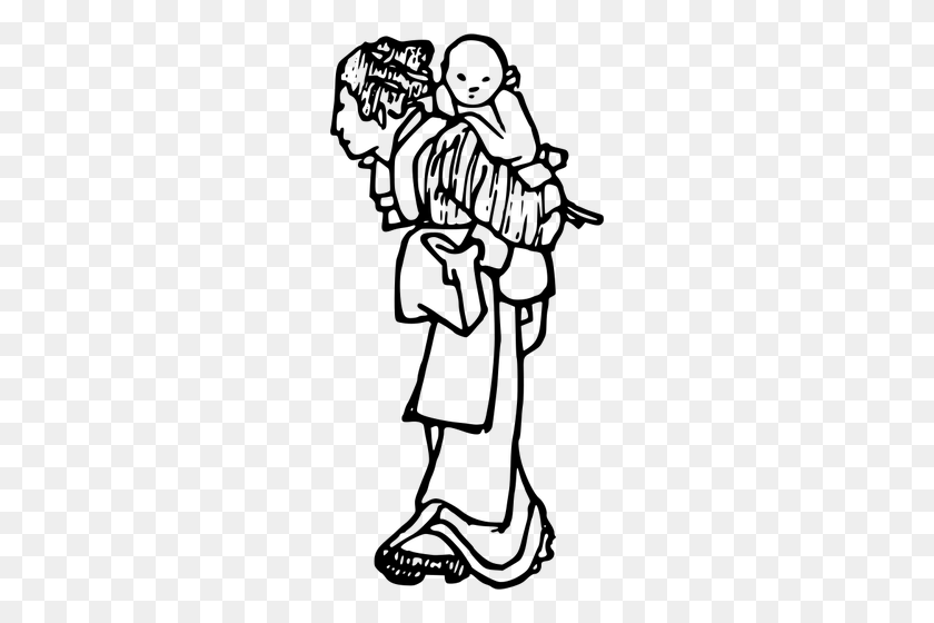 Mother Child Silhouette Clip Art Free - Mom And Child Clipart