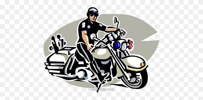 Motorcycle Cop Royalty Free Vector Clip Art Illustration - Motocross Clipart