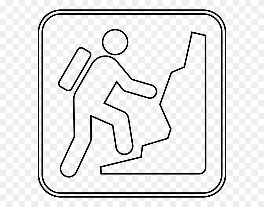 Mountain Climbing Sign Otline Clip Art - Mountain Climber Clipart