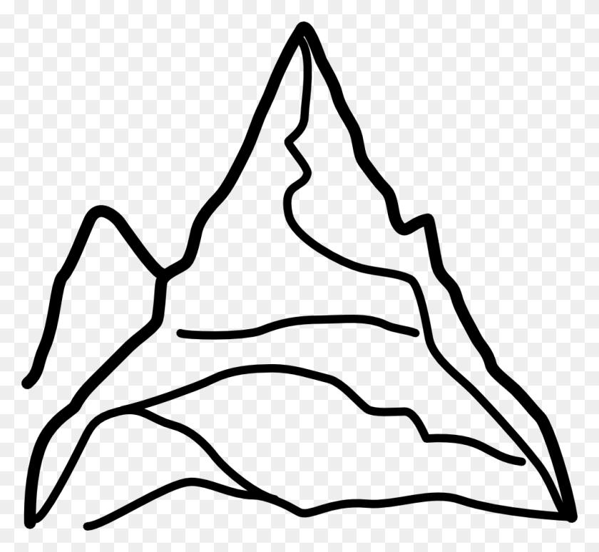 1000x915 Mountain Clip Art Black And White - Megaphone Clipart Black And White