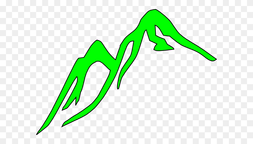 Mountain Outline Green Clip Art - Mountains Clipart PNG