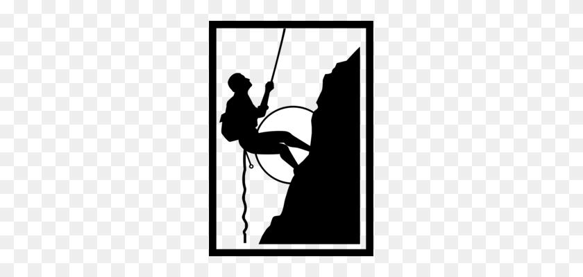Mountaineering Free Climbing Silhouette - Mountain Climber Clipart