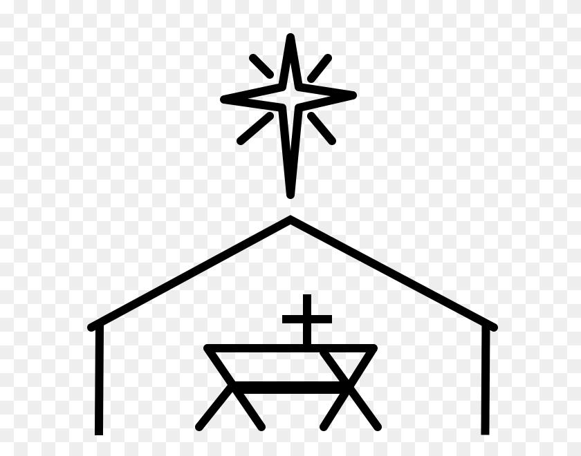Nativity Scene Rubber Stamp Stampmore - Nativity Scene Black And White Clipart