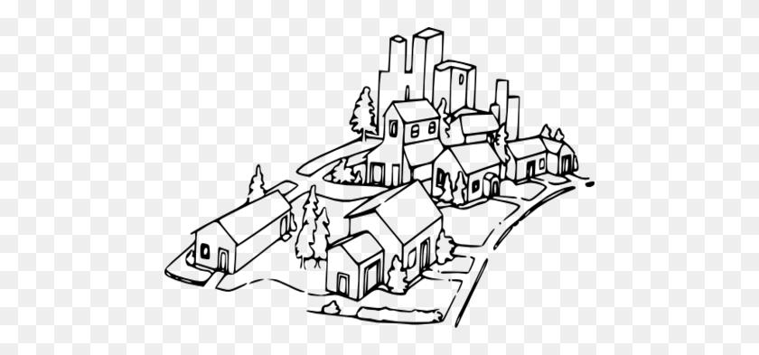 Neighborhood Map Coloring - Neighborhood Clipart