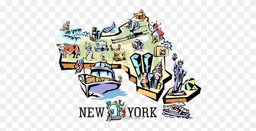 480x369 New York Vignette Map Royalty Free Vector Clip Art Illustration - Niagara Falls Clipart