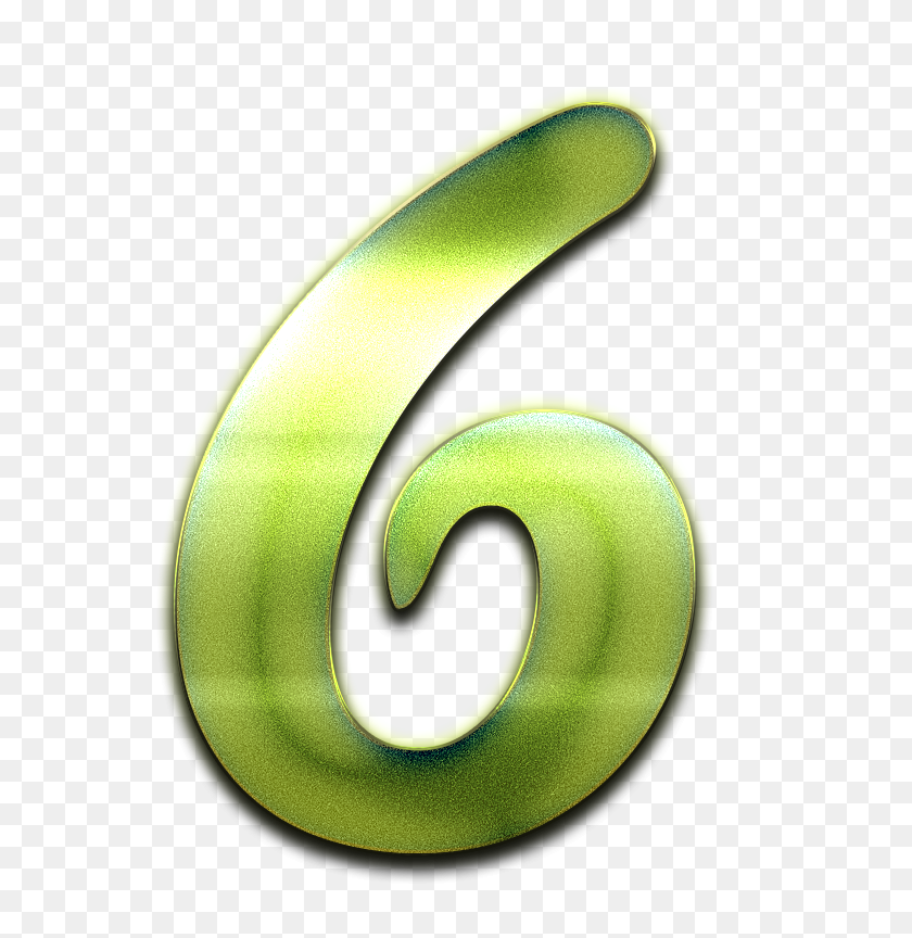 Number Green Design Png - Number 6 PNG