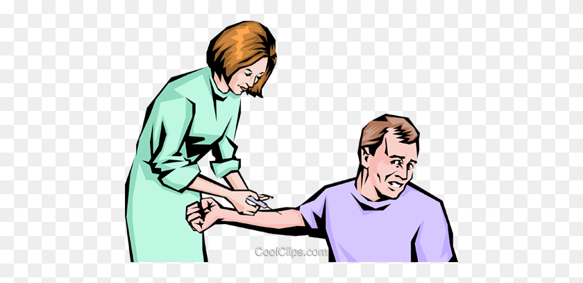 Nurse Giving Man A Hypodermic Needle Royalty Free Vector Clip Art - Male Nurse Clipart