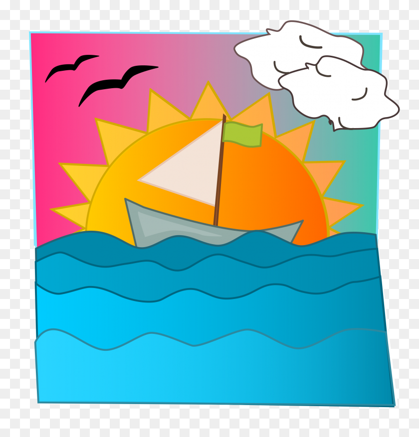 Ocean Sunset Clipart, Beach Sunset Clipart - Ocean Scene Clipart