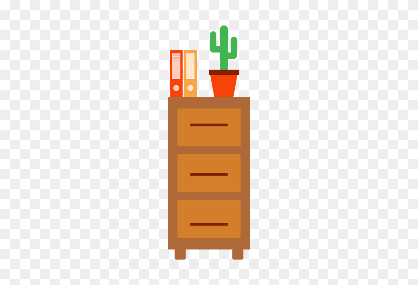 Office Cabinet With Cactus Clipart - Cabinet Clipart