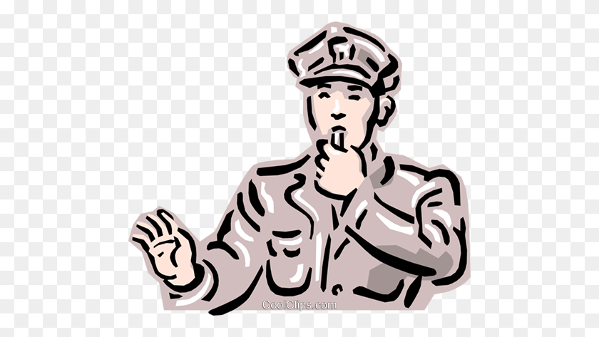 Old Fashioned Traffic Cop Royalty Free Vector Clip Art - Cop Clipart