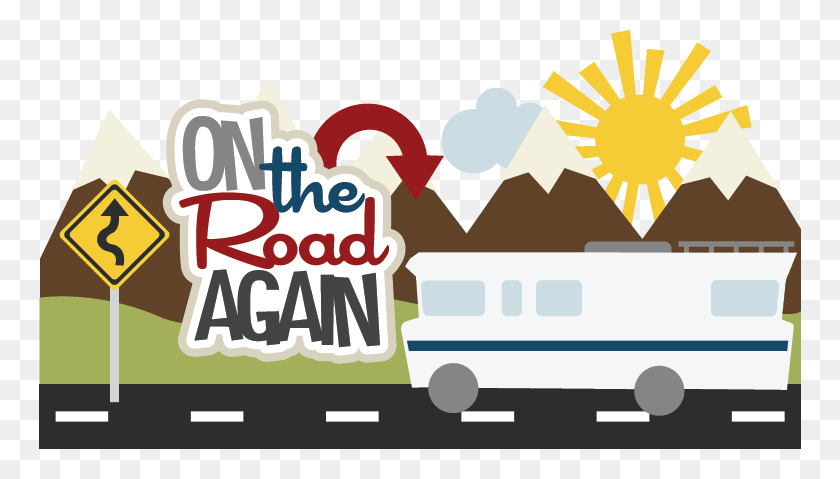 On The Road Aga Scrapbook Vacation Road Trip - Road Trip Clip Art
