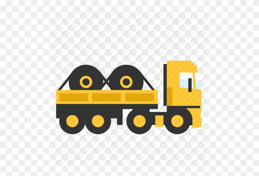 Open, Roles, Semi, Steel, Trailer, Transport, Truck Icon - Truck And Trailer Clip Art