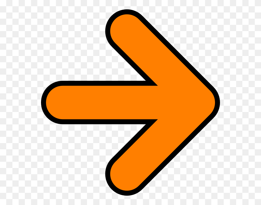 576x599 Orange Arrow Clip Art - Arrow Clipart No Background