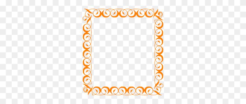 Orange Elegant Border Clip Art - Page Border Clipart