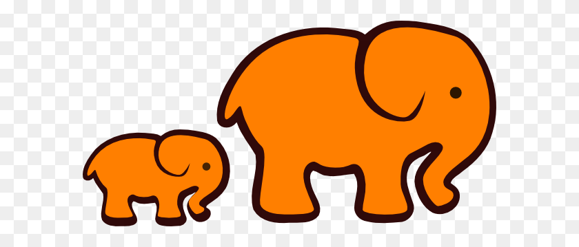 Orange Elephant Mom Baby Clip Art - Mom And Baby Clipart