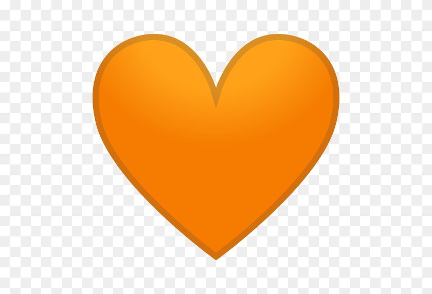 Orange Heart Icon Noto Emoji People Family Love Iconset Google - Orange Heart PNG