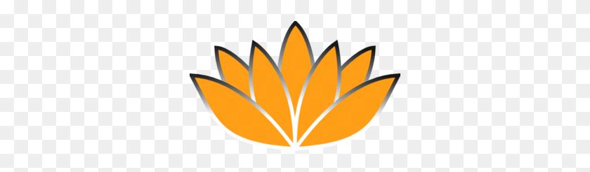 300x186 Orange Lotus Flower Silver Trim Clip Art - Lotus Flower Clipart