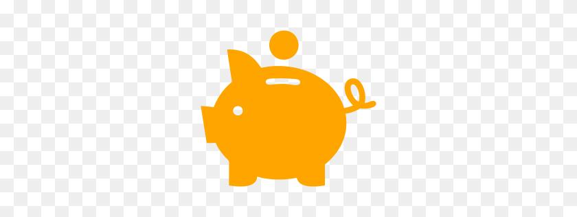 Orange Piggy Bank Icon - Piggy Bank Clipart