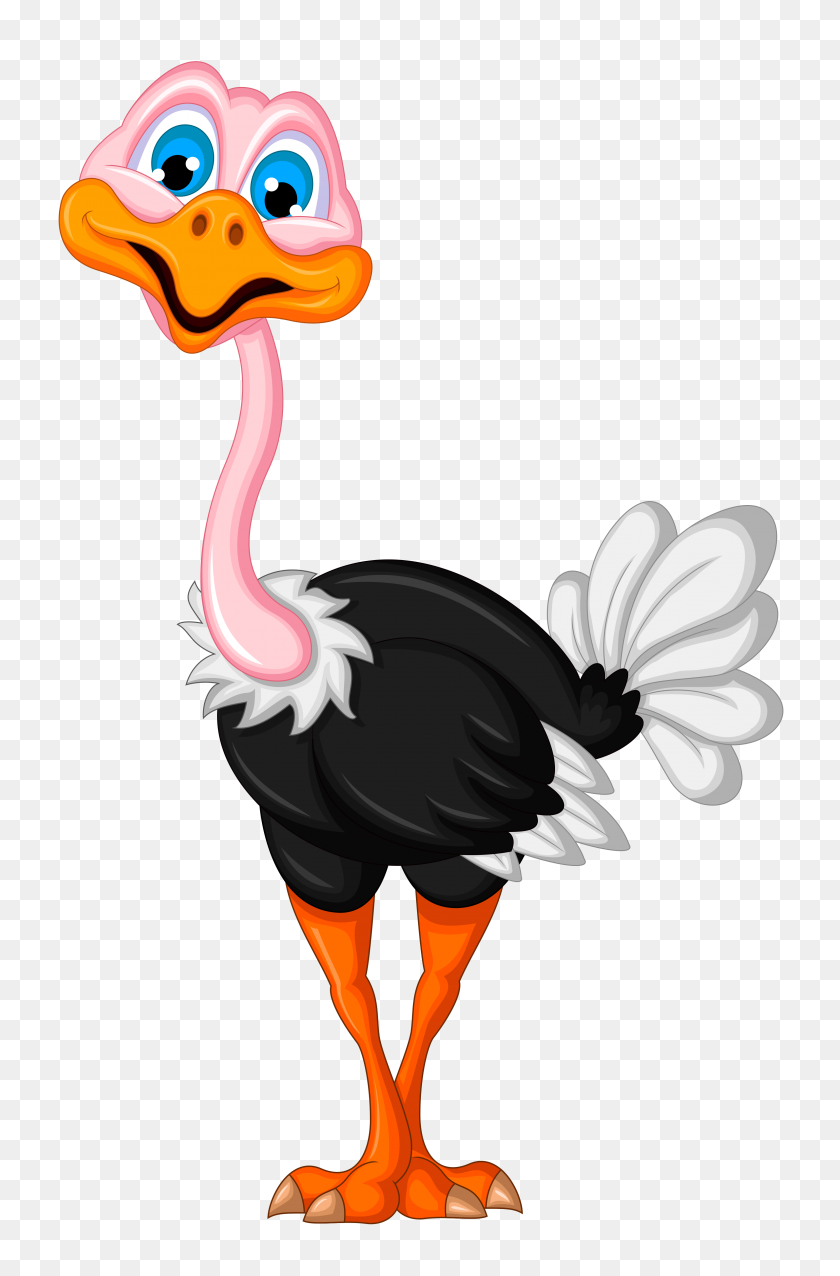 3160x4928 Orig Clip Art Cartoons And Painting - Ostrich Clipart Black And White