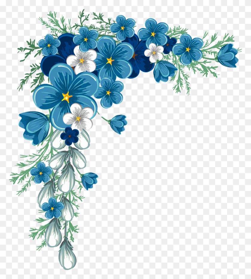 Orig Printable Flowers, Decoupage, Blue - Spring Flower Border Clipart