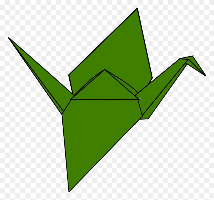 Origami Crane Green Paper Art Free Image - Origami Crane Clipart