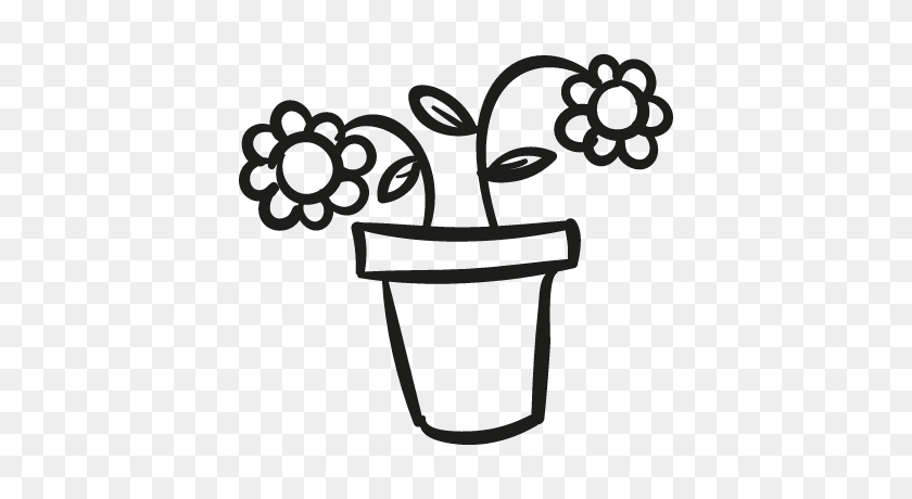 400x400 Outline Picture Of Flower Pot - Pot Of Gold Clipart Black And White